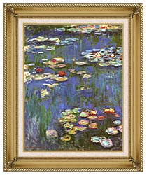 Claude Monet Water Lilies 1916 Portrait Detail canvas with gallery gold wood frame