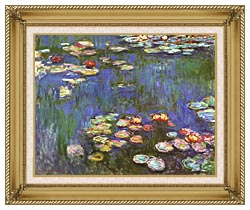 Claude Monet Water Lilies 1916 Detail canvas with gallery gold wood frame