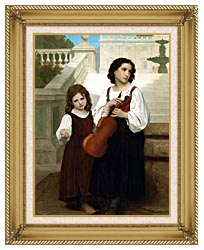 William Bouguereau Far From Home canvas with gallery gold wood frame