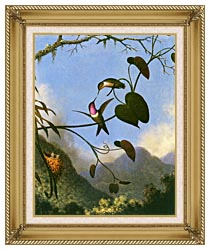 Martin Johnson Heade Amethyst Woodstar canvas with gallery gold wood frame