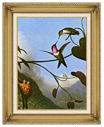 Martin Johnson Heade Amethyst Woodstar Detail canvas with gallery gold wood frame