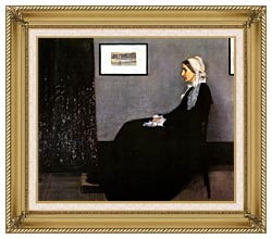 James Abbott McNeill Whistler Arrangement In Grey And Black Portrait Of The Artists Mother canvas with gallery gold wood frame