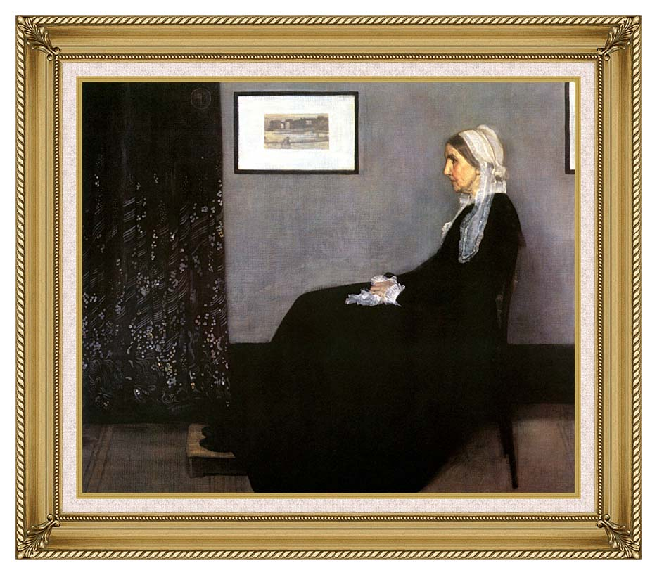 James Abbott McNeill Whistler Arrangement in Grey and Black: Portrait of the Artist's Mother with Gallery Gold Frame w/Liner