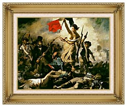 Eugene Delacroix Liberty Leading The People canvas with gallery gold wood frame