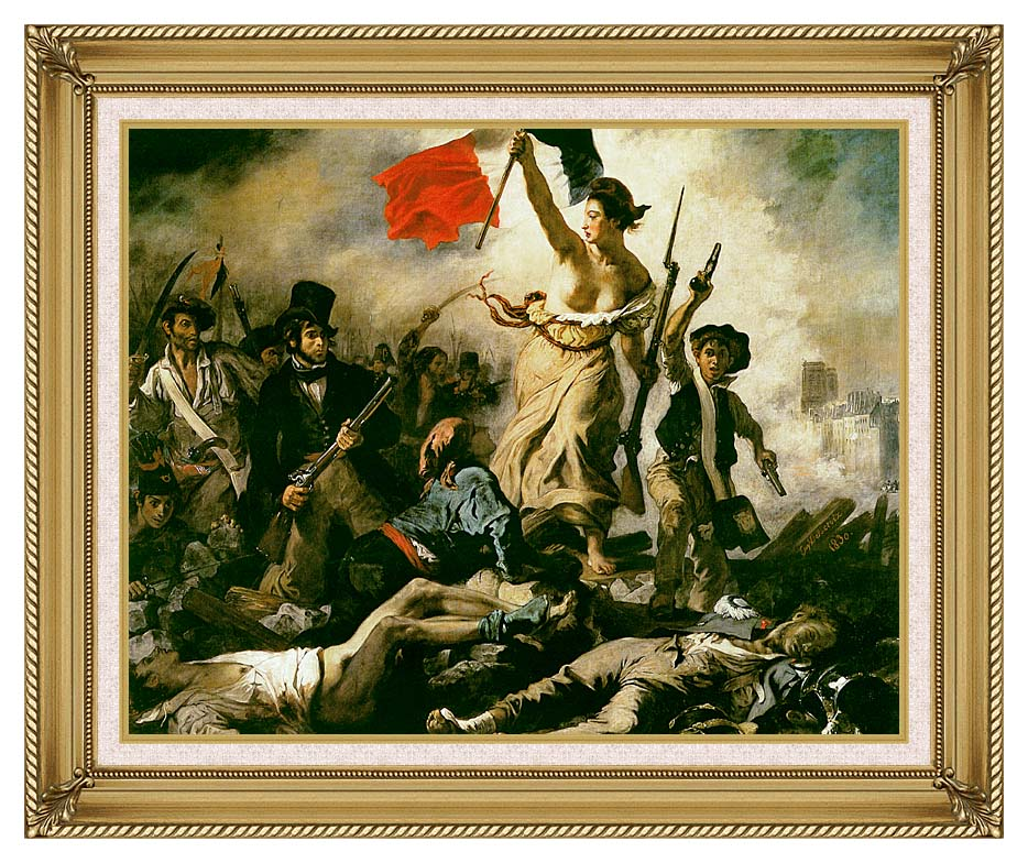 Eugene Delacroix Liberty Leading the People with Gallery Gold Frame w/Liner