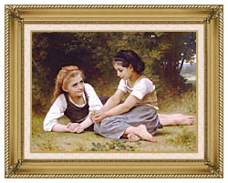William Bouguereau Hazelnuts   The Nut Gatherers canvas with gallery gold wood frame