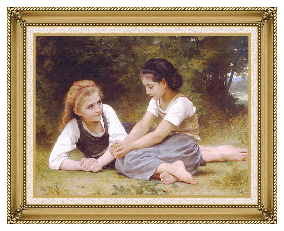 William Bouguereau Hazelnuts - The Nut Gatherers with Gallery Gold Frame w/Liner