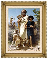 William Bouguereau Homer And His Guide canvas with gallery gold wood frame