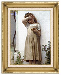 William Bouguereau In Penitence canvas with gallery gold wood frame