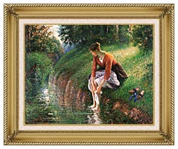 Camille Pissarro Woman Bathing Her Feet canvas with gallery gold wood frame