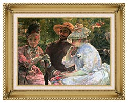Marie Bracquemond On The Terrace At Sevres canvas with gallery gold wood frame