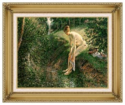 Camille Pissarro Bather In The Woods canvas with gallery gold wood frame