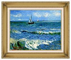 Vincent Van Gogh The Sea At Les Saintes Maries De La Mer canvas with gallery gold wood frame