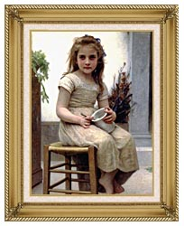 William Bouguereau Just A Taste canvas with gallery gold wood frame