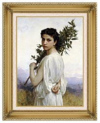 William Bouguereau Laurel Branch canvas with gallery gold wood frame