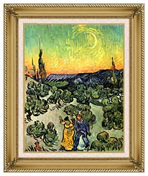 Vincent Van Gogh Landscape With Couple Walking And Crescent Moon canvas with gallery gold wood frame