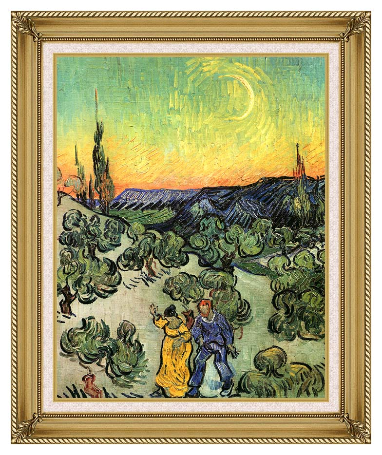 Vincent van Gogh Landscape with Couple Walking and Crescent Moon with Gallery Gold Frame w/Liner
