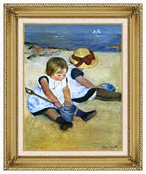Mary Cassatt Children Playing On The Beach Detail canvas with gallery gold wood frame