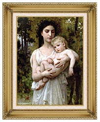 William Bouguereau Little Brother canvas with gallery gold wood frame