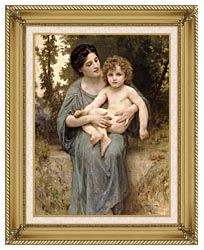 William Bouguereau Young Woman And Little Brother canvas with gallery gold wood frame