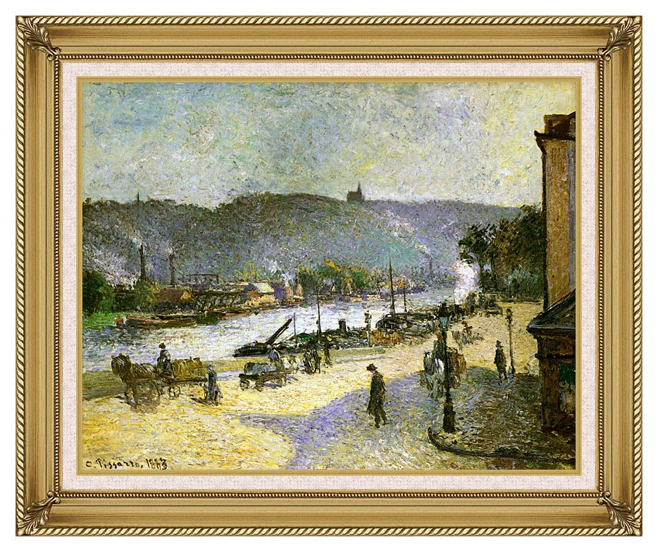 Camille Pissarro The Quays at Rouen with Gallery Gold Frame w/Liner