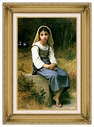 William Bouguereau Meditation canvas with gallery gold wood frame