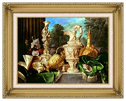 Meiffren Conte Still Life With Precious Vessels canvas with gallery gold wood frame