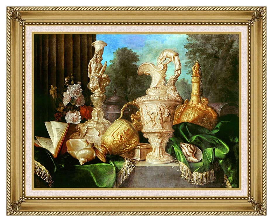 Meiffren Conte Still Life with Precious Vessels with Gallery Gold Frame w/Liner