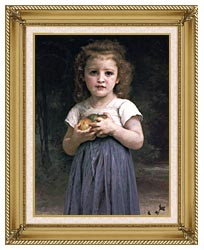 William Bouguereau Little Girl Holding Apples canvas with gallery gold wood frame
