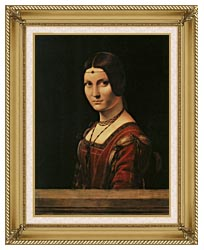 Leonardo Da Vinci Lady In The Court Of Milan canvas with gallery gold wood frame