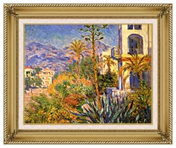 Claude Monet Villas At Bordighera canvas with gallery gold wood frame