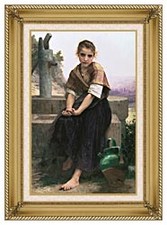 William Bouguereau The Broken Pitcher canvas with gallery gold wood frame