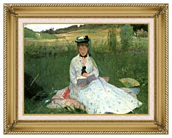 Berthe Morisot Reading Detail canvas with gallery gold wood frame