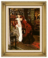 James Tissot Young Ladies Looking At Japanese Objects canvas with gallery gold wood frame