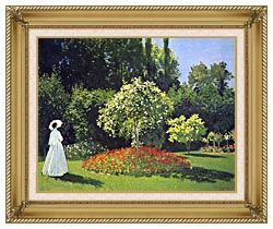Claude Monet Jeanne Marguerite Lecadre In The Garden canvas with gallery gold wood frame