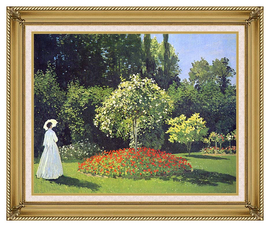 Claude Monet Jeanne-Marguerite Lecadre in the Garden with Gallery Gold Frame w/Liner