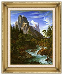 Joseph Anton Koch The Wetterhorn With The Reichenbachtal canvas with gallery gold wood frame