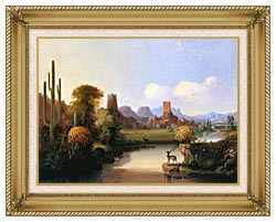 John Mix Stanley Chain Of Spires Along The Gila River canvas with gallery gold wood frame