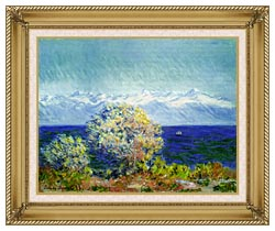 Claude Monet At Cap Dantibes Mistral Wind canvas with gallery gold wood frame