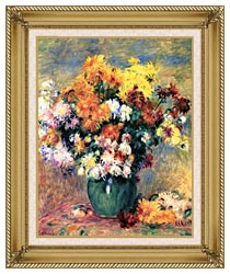 Pierre Auguste Renoir Chrysanthemums In A Vase canvas with gallery gold wood frame