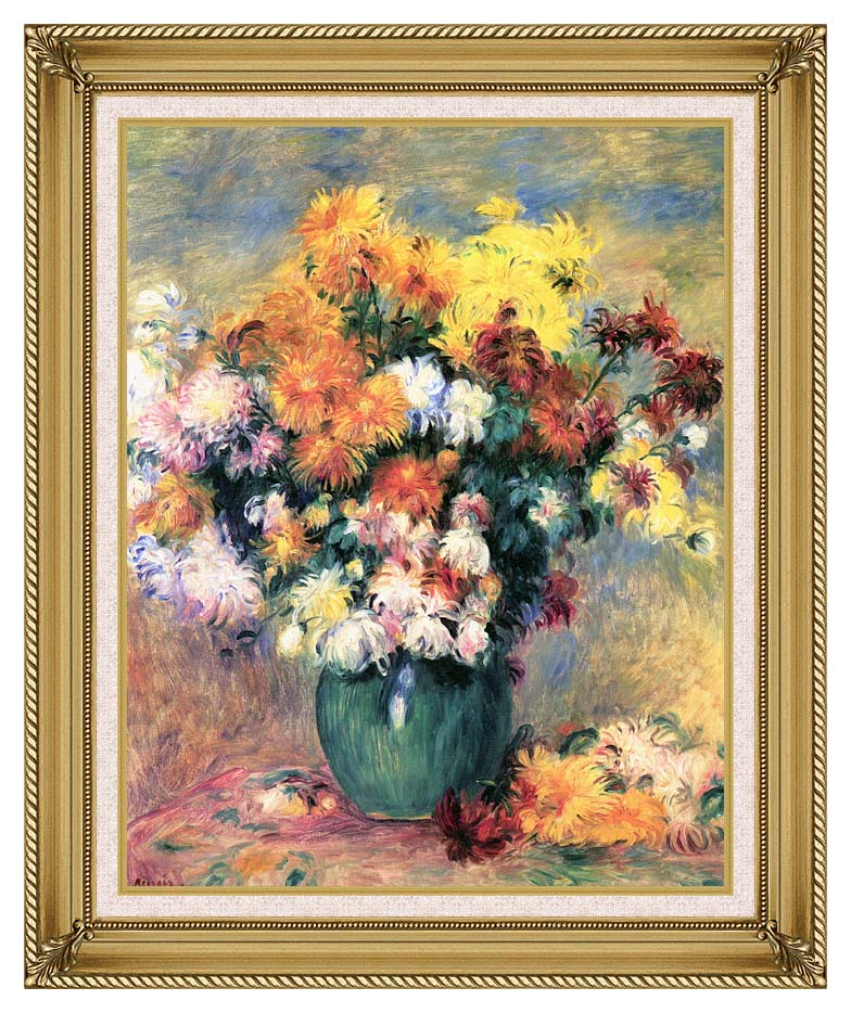 Pierre Auguste Renoir Chrysanthemums in a Vase with Gallery Gold Frame w/Liner