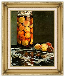Claude Monet Jar Of Peaches canvas with gallery gold wood frame