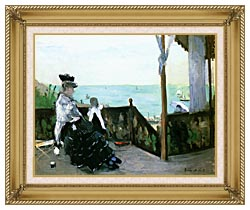 Berthe Morisot In A Villa At The Seaside canvas with gallery gold wood frame