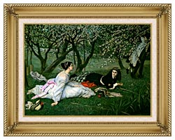 James Tissot Le Printemps canvas with gallery gold wood frame