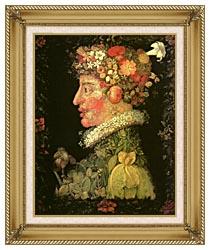Giuseppe Arcimboldo Spring canvas with gallery gold wood frame