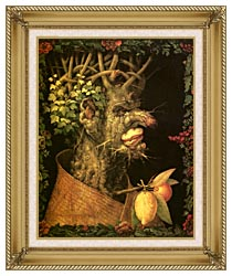 Giuseppe Arcimboldo Winter canvas with gallery gold wood frame