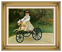Claude Monet Jean Monet On His Horse Tricycle canvas with gallery gold wood frame