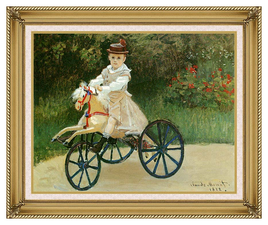 Claude Monet Jean Monet on his Horse Tricycle with Gallery Gold Frame w/Liner
