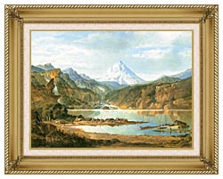 John Mix Stanley Mountain Landscape With Indians canvas with gallery gold wood frame