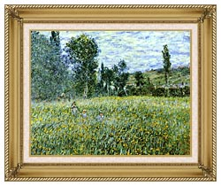 Claude Monet A Meadow Outside Vetheuil canvas with gallery gold wood frame